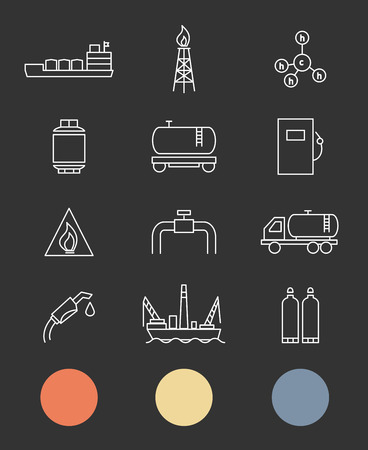 natural gas production: Natural gas. Production and transportation flat icons Illustration