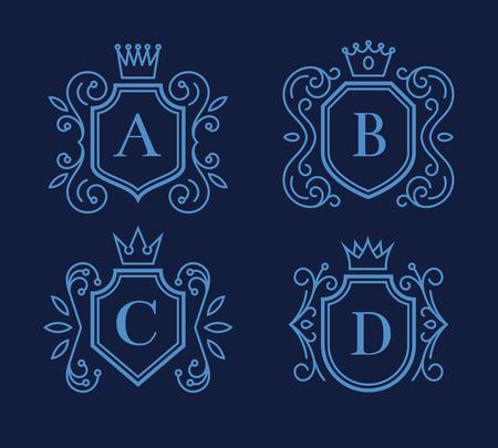 escudo: diseño del monograma con escudos y coronas Vectores