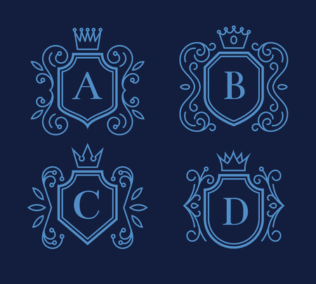 crown silhouette: monogram design with shields and crowns Illustration