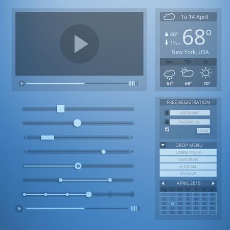 estado del tiempo: Transparencia UI dise�o plano de elementos web Vectores