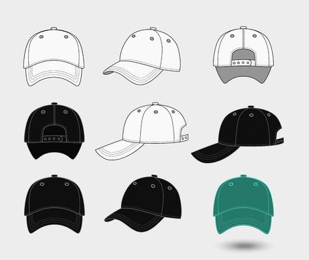 야구 모자. 위로, 전면 및 측면보기