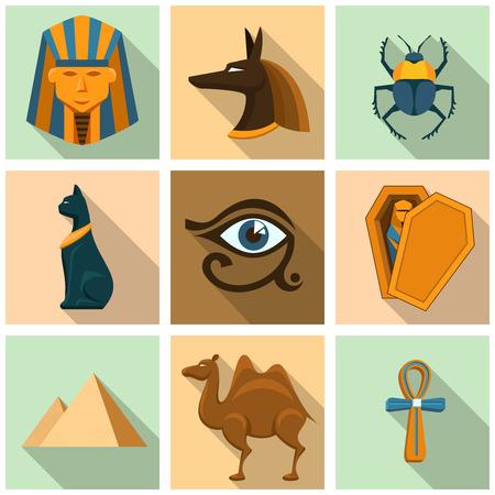 egyptian pharaoh: Egypt icon set Illustration