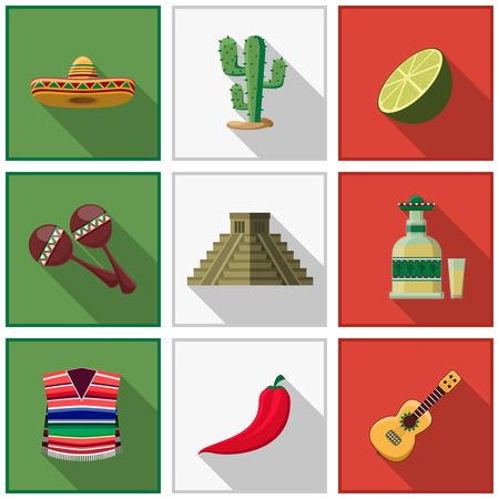 Mexico icons set Stock Illustratie