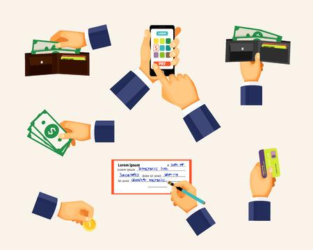 cash money: Iconos Pagos en un estilo plano. Manos que sostienen la moneda, tarjeta de cr�dito y dinero en efectivo