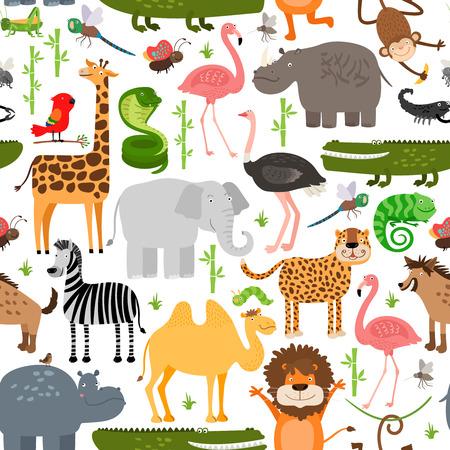 oruga: Animales de la selva sin patrón Vectores