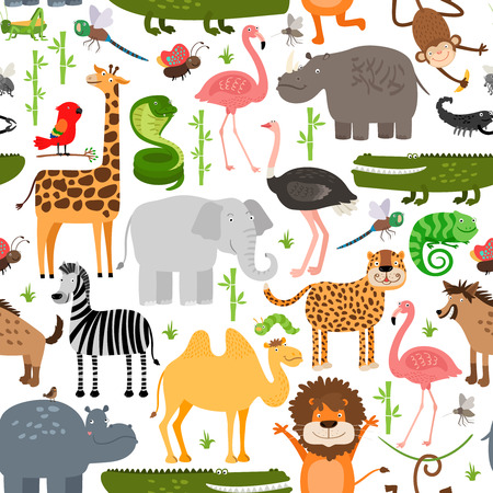 cartoon camel: Jungle animals seamless pattern Illustration