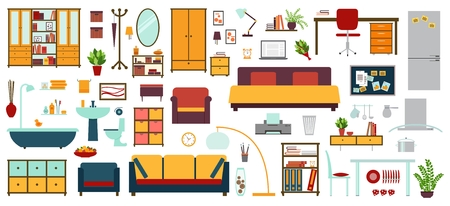 Furniture icons in flat style for house