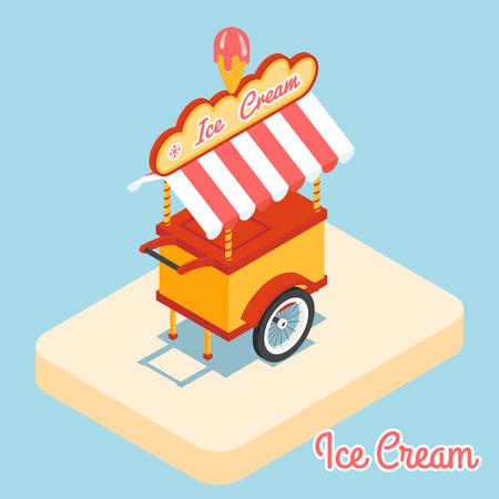carretto gelati: Ice cream cart 3d icona piatta