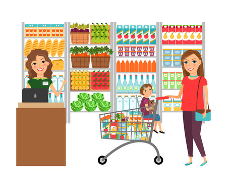 shelves: Woman shopping in grocery store Illustration