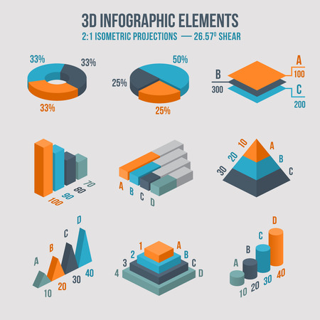 Isometric 3d sign. Pie and donut chart, layers graphs, pyramid diagram