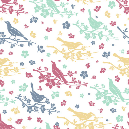 twigs: Birds and twigs seamless pattern Illustration