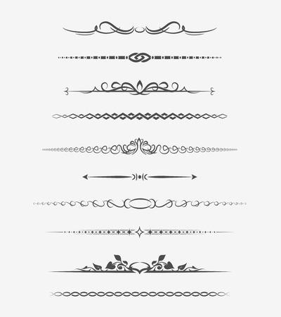 horizontal lines: Divisores página caligráficos Vectores