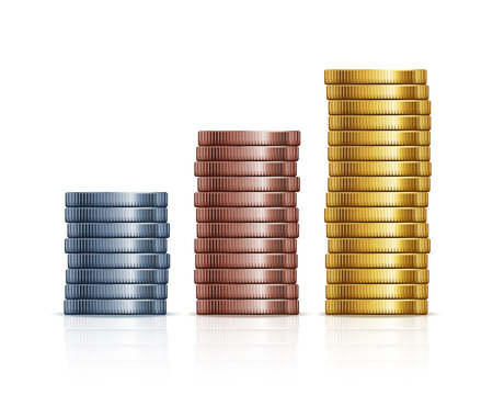 stacks of coins. Gold, silver and copper coins