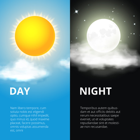 time of the day: Day and night, sun moon Illustration