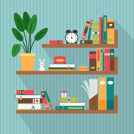 study group: books on bookshelves