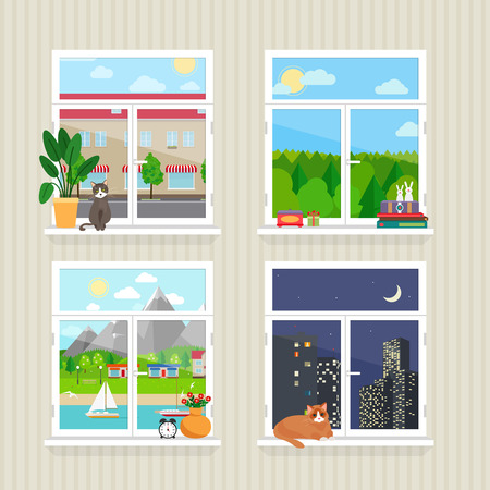 フラットの窓風景  イラスト・ベクター素材