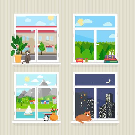 vlakke ramen met landschap Stock Illustratie