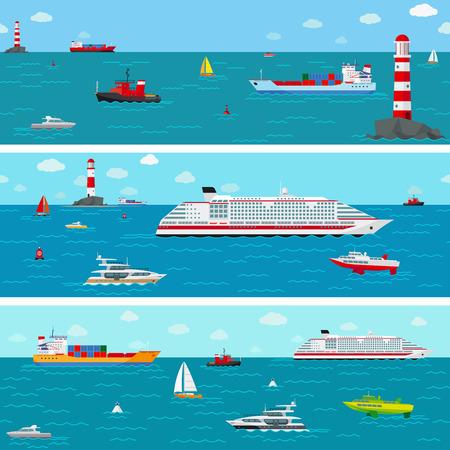naadloze horizontale zee achtergrond met schip pictogrammen Vector Illustratie