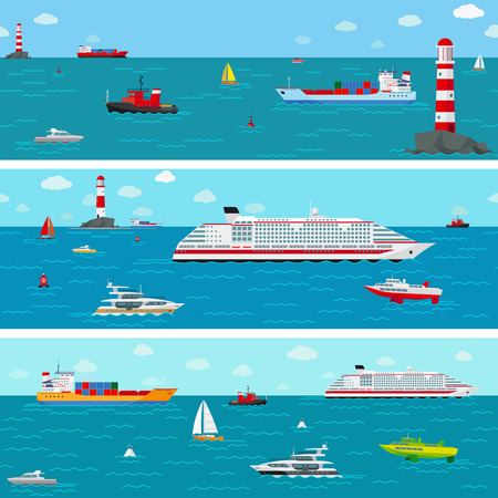 lighthouses: seamless horizontal sea background with ship icons
