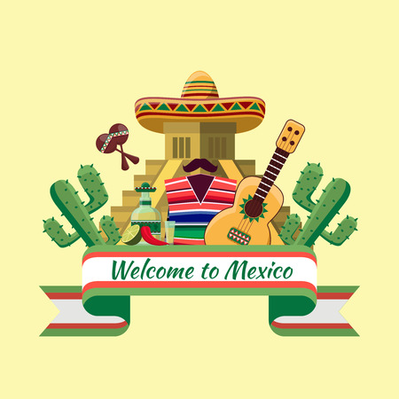 mexican culture: Welcome to mexico poster Illustration