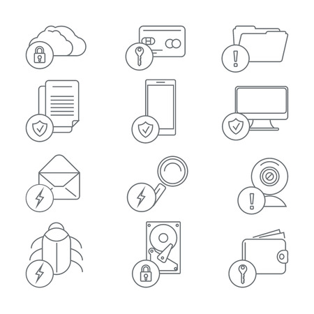 protection line: Business network security and data protection line art icons