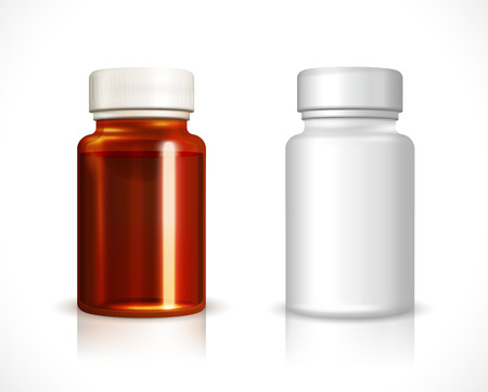 medicine: Blank plastic and glass bottle