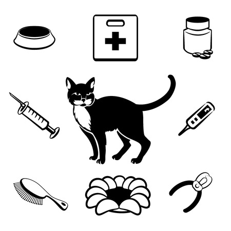 cat grooming: Cat veterinary clinic icons Illustration