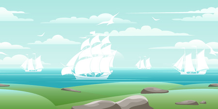 sea landscape: Sea landscape with ships