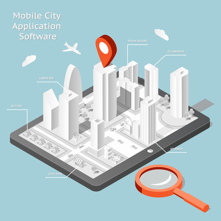 navigation icons: Paper mobile city navigation application software