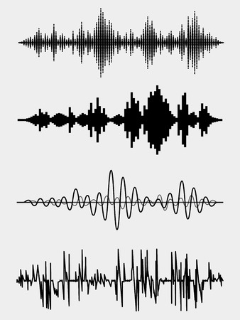 curve line: Vector sound waves