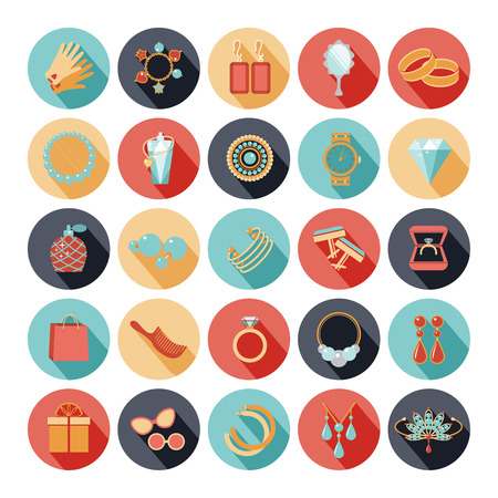 Fashion accessories flat icons Stock Illustratie
