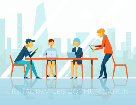 mujeres trabajando: La gente de comunicaci�n dispositivos digitales Vectores