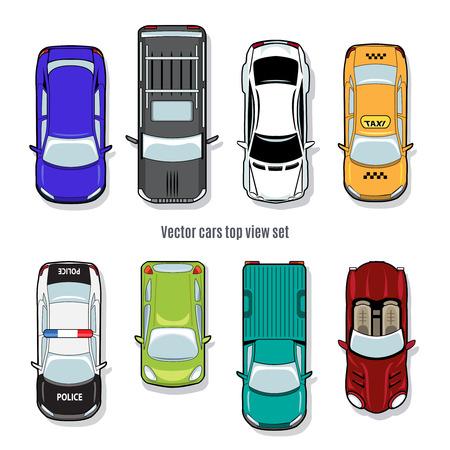 car: Set di automobili vettore vista dall'alto Vettoriali