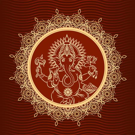 seigneur: Seigneur Ganesha sunburst Illustration