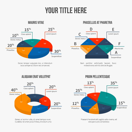 pie chart icon: Vector pie charts in modern 3d flat style Illustration