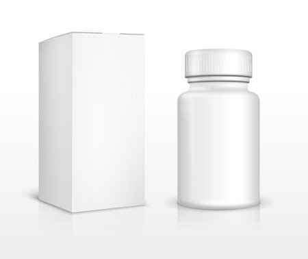 prescription bottles: Blank medicine bottle and package box Illustration