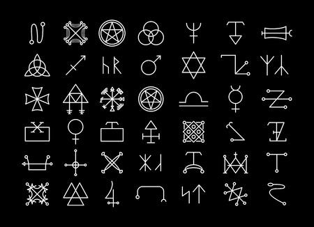 Religión y filosofía, espiritualidad o ocultismo iconos Foto de archivo - 39898591