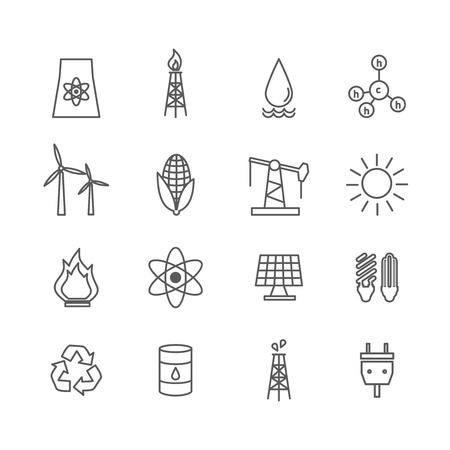 solar battery: Energy icons in art line style