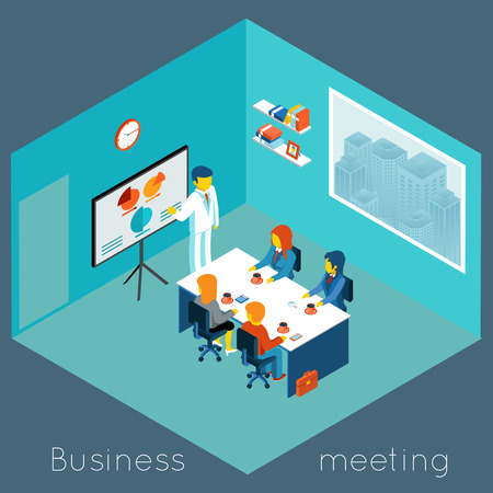 Isometric 3d business meeting Illustration