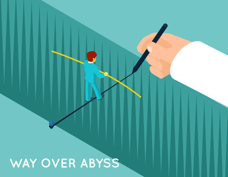 business metaphore: Hand drawing way over abyss for businessman