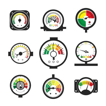 Manometer set, pressure gauge and measurement Vector