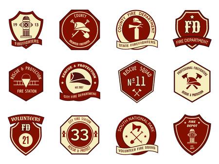 bombero de rojo: Insignias del departamento de bomberos Vectores