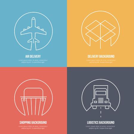 logistics: Delivery and logistics line art backgrounds