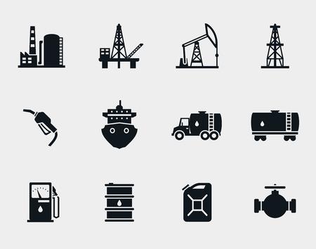 tanque de combustible: Iconos de Petróleo y aceite fijados Vectores