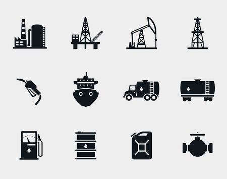 fuel storage tank: Petroleum and oil icons set Illustration