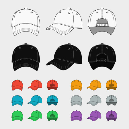black cap: Baseball cap vector template Illustration