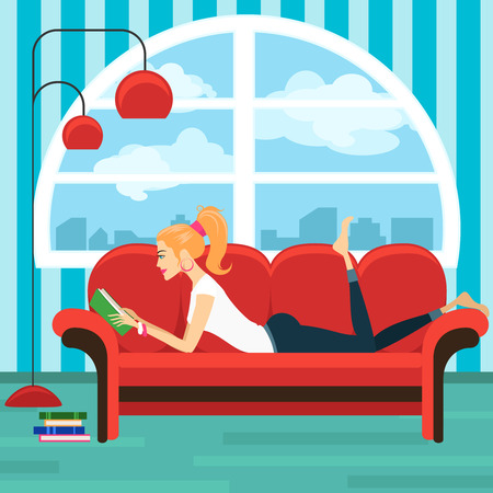 woman reading book: Beautiful young woman reading book on sofa Illustration
