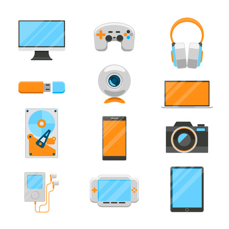 electronic devices: Electronic devices flat icons Illustration