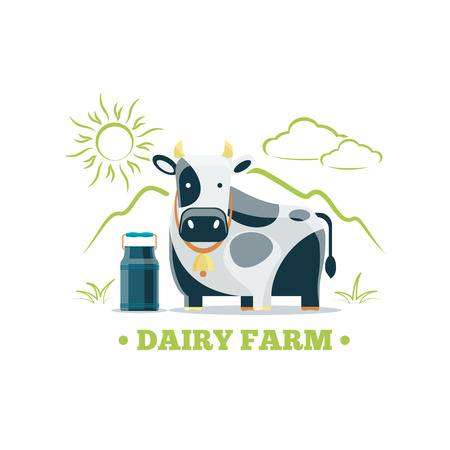 dairy cattle: Fresh natural milk eco farm logo with cow