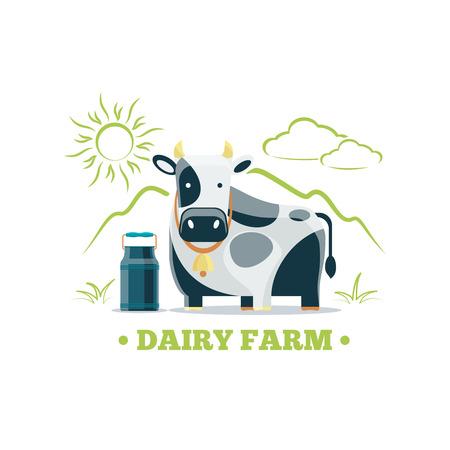 Fresh natural milk eco farm logo with cow